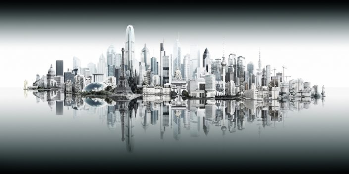 Anek City - Skyline composing with different towers from Hamburg, Berlin. Cologne, Frankfurt, Paris and Hong Kong