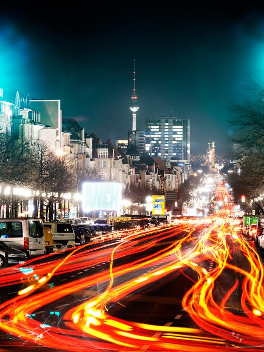 Berlin Alex Street with lights