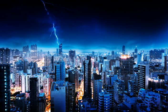 Hong Kong Mong Kok lightning strike at a Thunderstorm