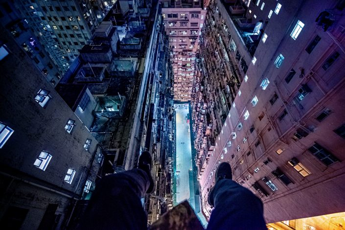 looking down into a inner courtyard in Quarry Bay Hong Kong