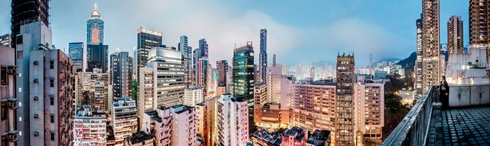 Panorama view over Wan Chai from a rooftop