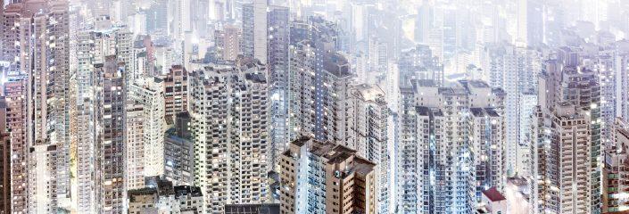 Hong Kong Midlevels density skyscrapers at fog
