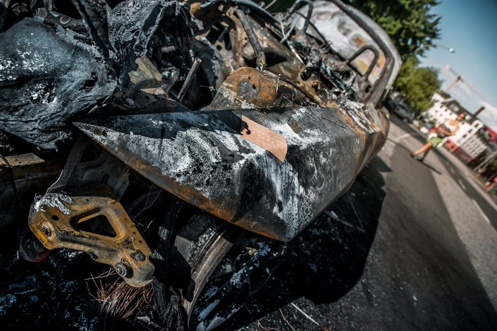G20 burned car