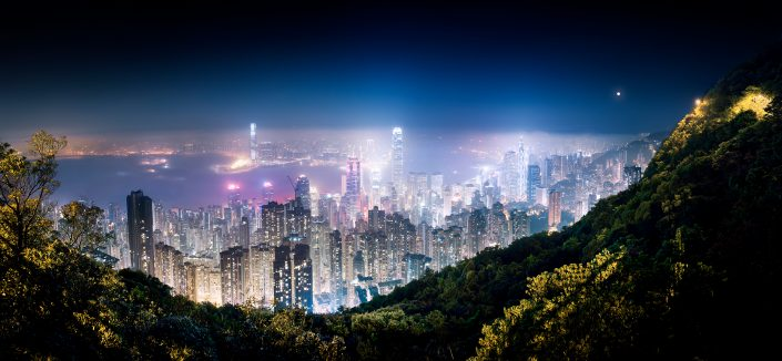 Panorama view over Hong Kong Island from the peak at night