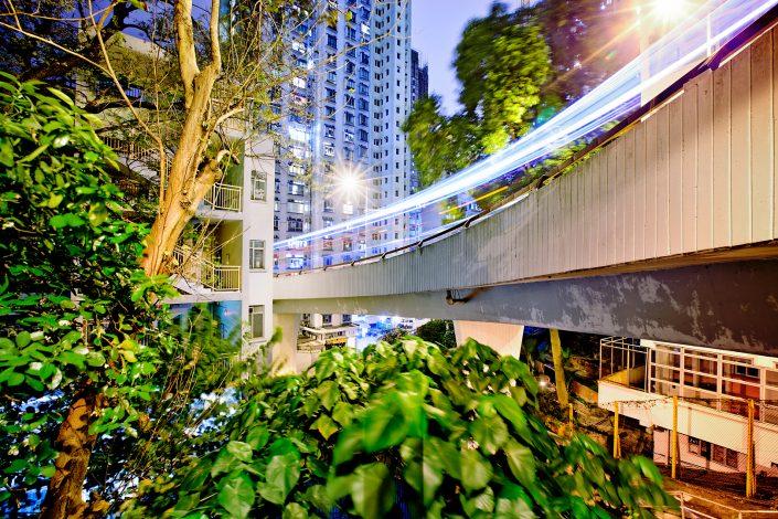 Hong Kong highway bridge at the peak in nature