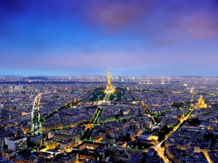 view over paris during twilight