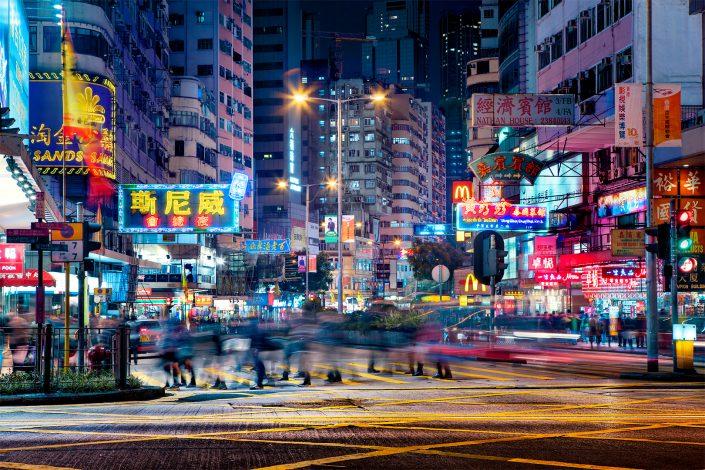 Busy Jordan Street Hong Kong Kowloon Mong Kog Tsim Tsa Tsui Jordan Road