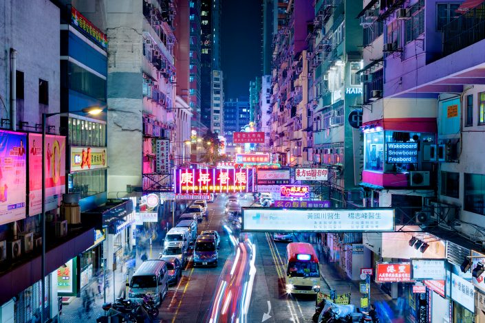 Hong Kong Mong Kog Street with neon signs
