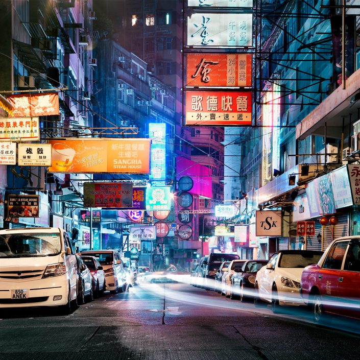 Hong Kong neon signs street